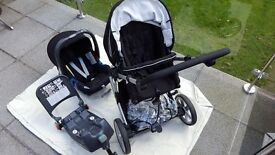 "Britax B-Smart (3 wheel) push chair with interchangeable ""click and go"" baby isofix car seat"