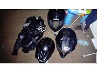 Motorbike protective jacket and helmets