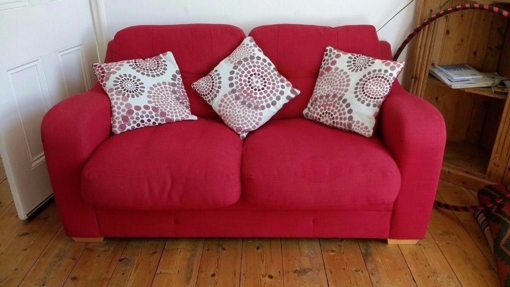 Sofa Bed Harveys Excellent Condition Red Fabric