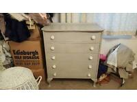 French grey shabby chic painted queen anne chest of drawers.