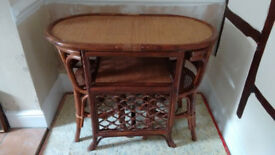 """Dining Table and 2 chair set, bamboo and cane, 39"""" x 21"""" (99 x 53 cm)"""