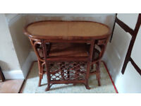 "Dining Table and 2 chair set, bamboo and cane, 39"" x 21"" (99 x 53 cm)"
