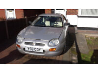 MGF Sports Car Converable silver, removable hard top, with integral soft top, excellent condition