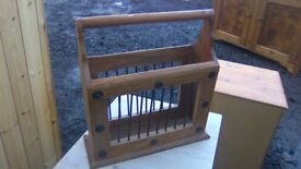 Rustic solid wood magazine rack in great condition
