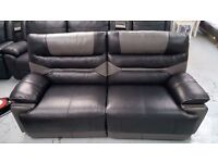 ScS Venus Black/Grey 3 Seater Manual Recliner Sofa Can Deliver View collect Kirkby NG177