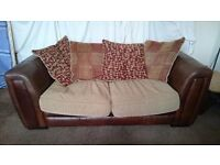 2 Seater Brown Sofabed, leather and material
