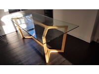 Habitat Herringbone Dining Table with Oak frame and glass top