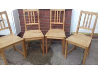 4 ikea wooden chairs light wood