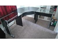Glass and Wood Veneer Corner Desk with Keyboard Tray