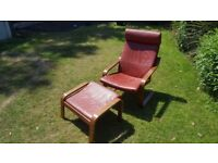 Ikea Poang Red Leather Armchair & Footstool