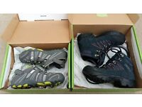 Unused boy's navy hiking boots Size 1 and grey trail shoes Size 12