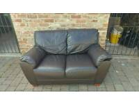 Free Choclate Brown leather 2 seater sofa