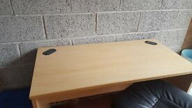 Light Oak Office Desk and 5 Spoke Adjustable Chair