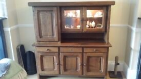 SOLID WOOD dresser with a lit glass display section for ornaments (removable glass shelf included)