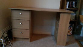 Office desk for sale (3 drawer, 3 fixed shelf) - perfect condition, collect only near Crystal Palace