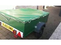Car Trailer transporter metal and wood frame 6ft x 4ft incledes cover