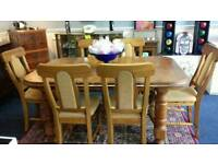 Solid Pine Farmhouse Table and Six Chairs