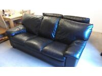 DFS brown leather 3 seater, 2 seater and large storage footstool