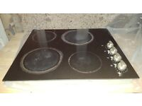 Black Glass Hob - Electric 600mm wide - electrically safety checked (HOB ONLY FOR SALE)