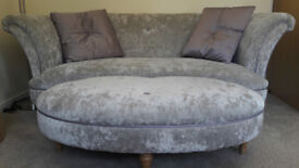 DFS Concerto Sofa & Oval Pouffe - Lilac - 4 yrs old - Great Condition