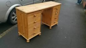Pine knee hole bedroom dresser..or office desk..natural pine