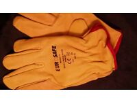 FULLY LINED LEATHER WORK GLOVES, -MENS SIZE XL, M and Small