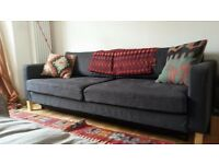 Lovely blue IKEA Karlstad 3 seat comfortable sofa bed