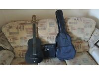 electro acoustic guitar with practise amp and case