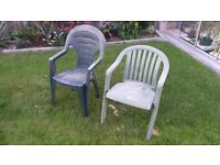 2 plastic garden chairs, free to collector