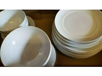 24 pieces of white Marks and Spencer M&S and Ikea dinner plates bowls side plates