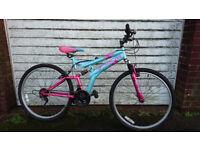 """girls dunlop dual suspension mountain bike 26"""" wheel 15 speed"""