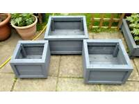 NEW - 3 Wooden Patio Planters - NEW
