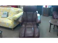 BROWN LEATHER ARM CHAIR WITH STOOL - BRITISH HEART FOUNDATION