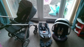 Mamas and Papas Sola Pram with Cybex Aton Car Seat with Adaptors and Isofix base for Cybex Aton