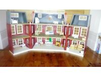 Sylvanian hotel dolls house with some furniture