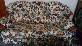 3 Piece Cushioned Solid Wooden Sofa Suite Patterned Flowers
