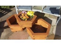 Wooden planter, hexagonal shape, treated wood, two sizes available,with or without flowers,