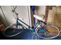 Comfy teal Raleigh bike in Headingley - reflectors, mudguards, cargo rack, U-lock/holster (£5 extra)