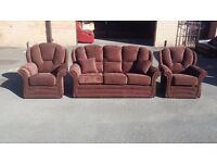 Ex-display Genoa brown fabric 3 seater sofa and 2 armchairs