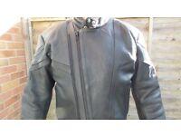 Mens black leather motorbike jacket. Size 42.