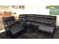 Designer black leather 5 piece corner sofa (363) £1099