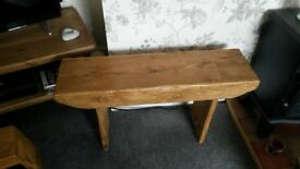 Handmade rustic solid pine bench