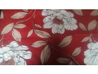 Floral red curtains