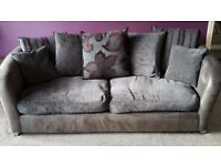 CSL Moretta Aubergine Mix 3 seater sofa , Cuddler Chair and matching footstool