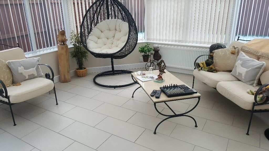 3 Piece Large Metal Conservatory Patio Furniture Set Including