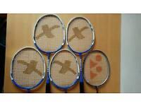 5 x Short Badminton Rackets
