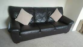 Brown leather 3 seater sofa with full size pull out bed