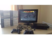 Playstation2 +53 games+monitor.Only 40£