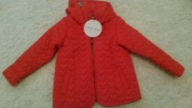 BRAND NEW RED GIRLS M&S COAT WITH HOOD