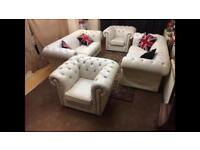 Chesterfield 4Piece Leather Suite BARGAIN Sofas & Club Chairs 🇬🇧🔥